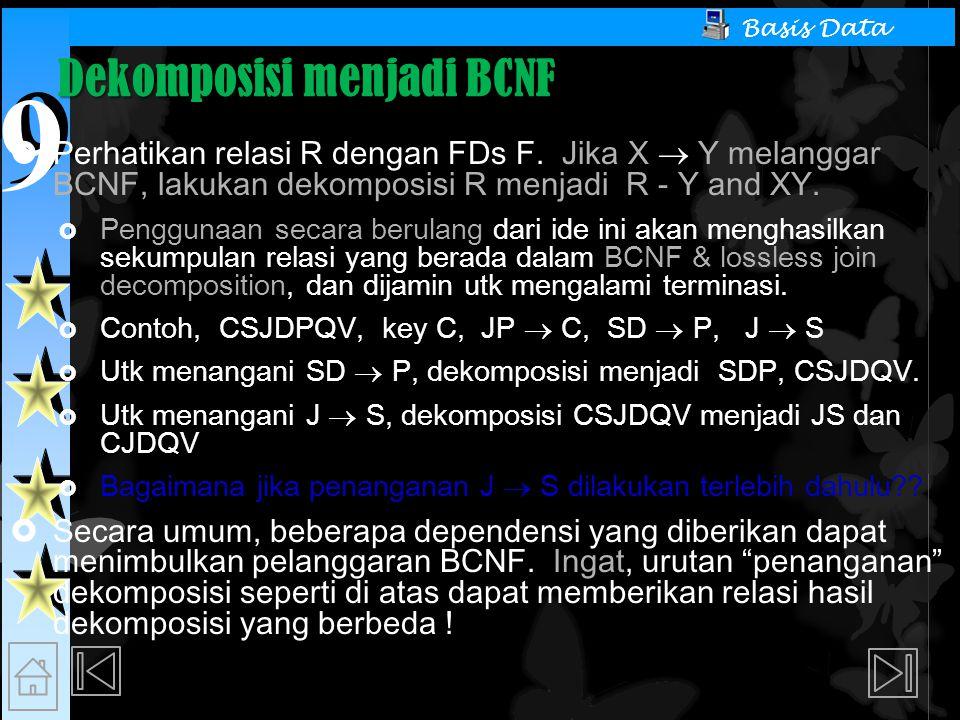 Dekomposisi menjadi BCNF