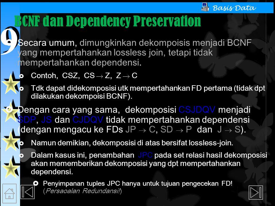BCNF dan Dependency Preservation