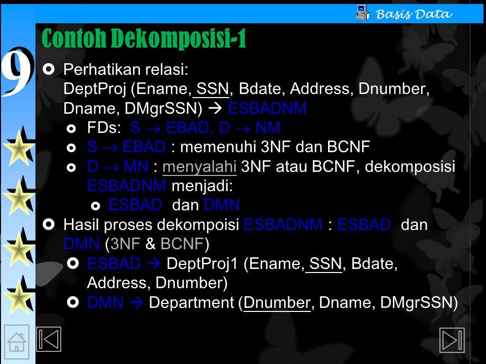 Contoh Dekomposisi-1 Perhatikan relasi:
