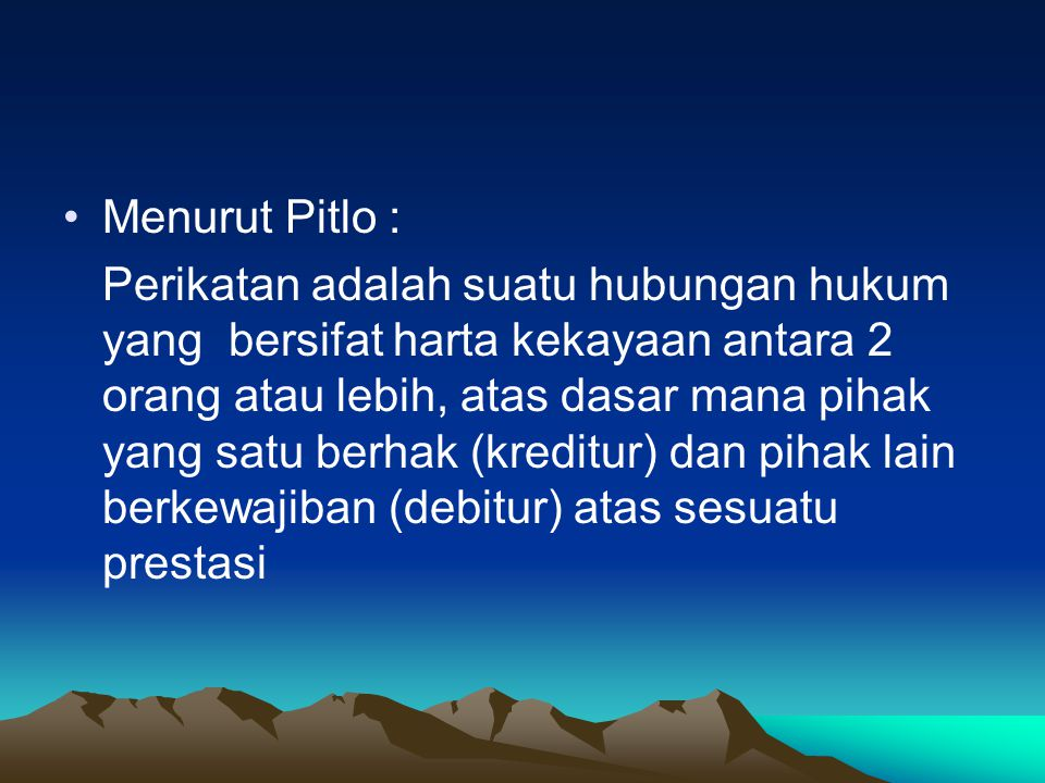 Menurut Pitlo :