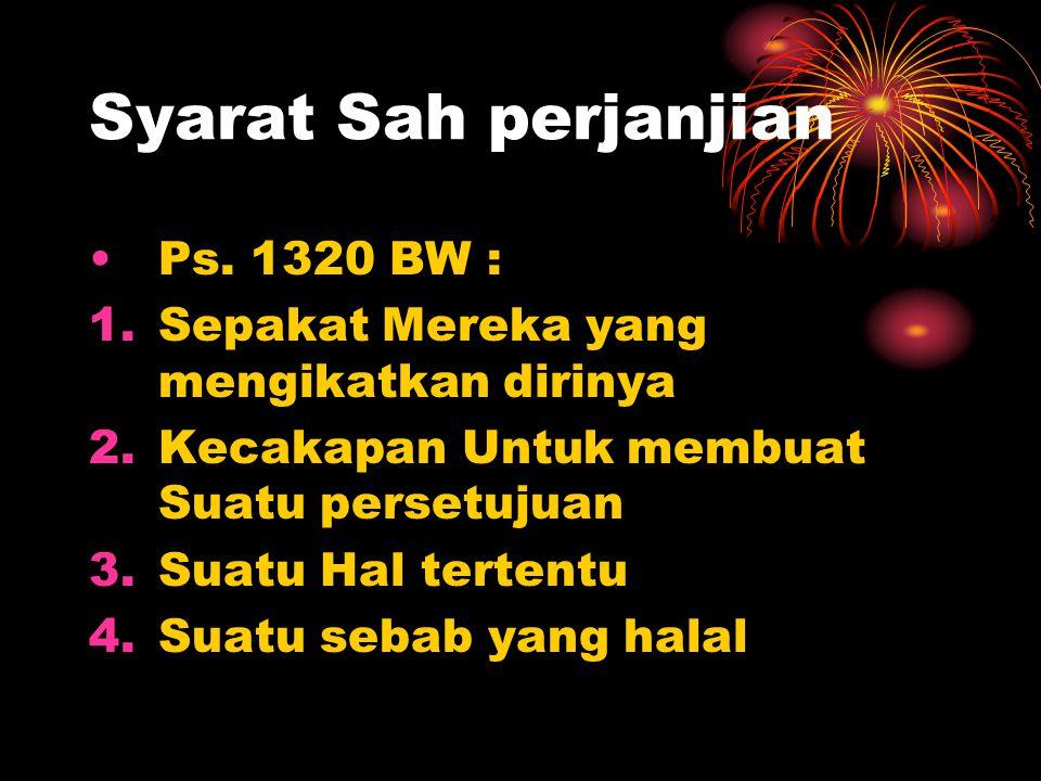 Syarat Sah perjanjian Ps. 1320 BW :