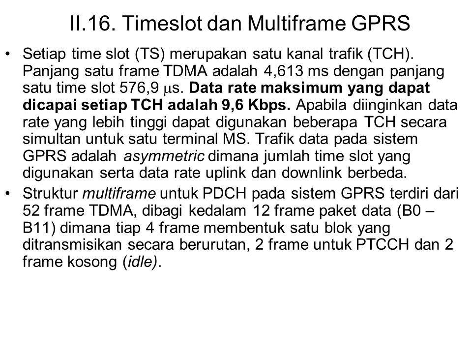II.16. Timeslot dan Multiframe GPRS