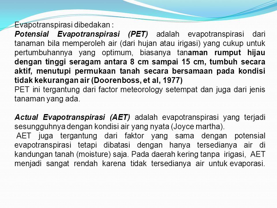 Evapotranspirasi dibedakan :
