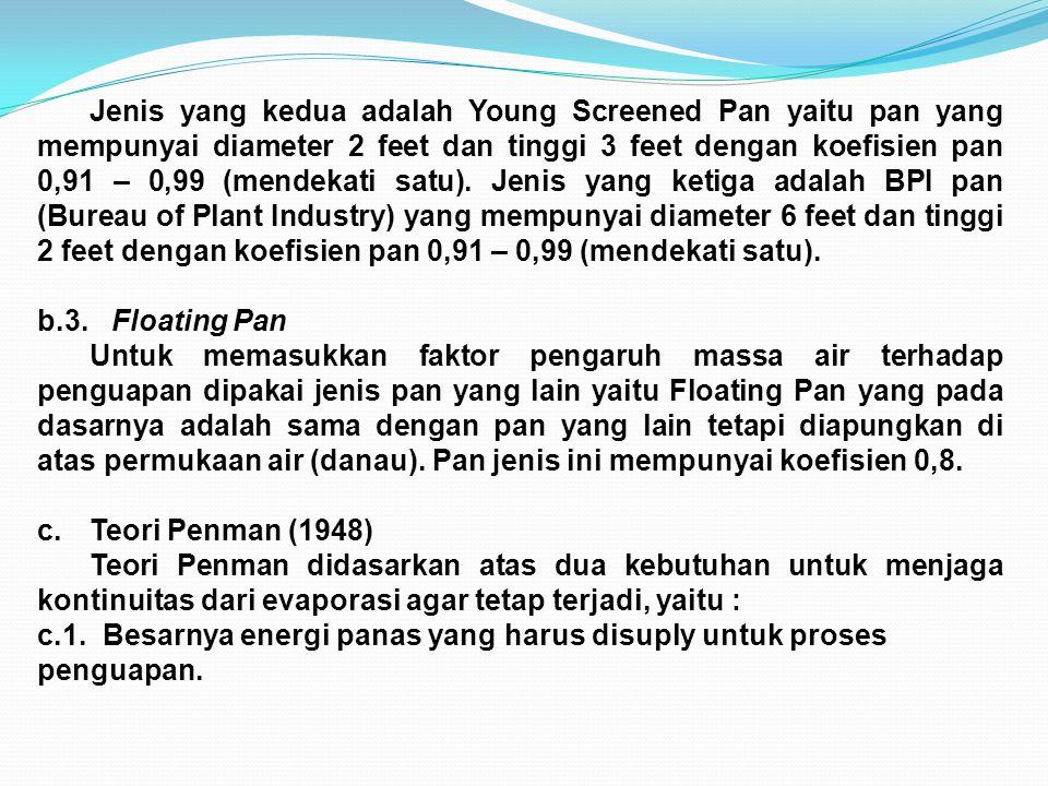 Jenis yang kedua adalah Young Screened Pan yaitu pan yang mempunyai diameter 2 feet dan tinggi 3 feet dengan koefisien pan 0,91 – 0,99 (mendekati satu). Jenis yang ketiga adalah BPI pan (Bureau of Plant Industry) yang mempunyai diameter 6 feet dan tinggi 2 feet dengan koefisien pan 0,91 – 0,99 (mendekati satu).