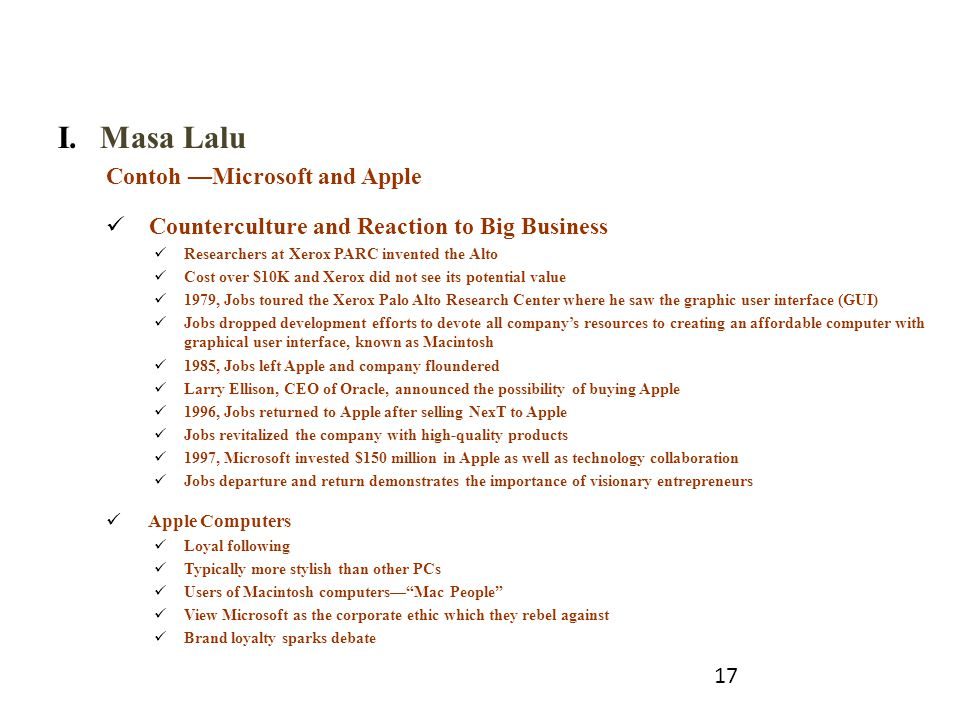 Masa Lalu Contoh —Microsoft and Apple