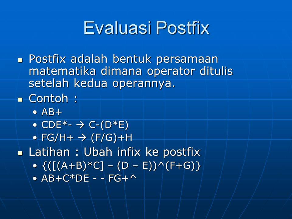 Evaluasi Postfix Postfix adalah bentuk persamaan matematika dimana operator ditulis setelah kedua operannya.