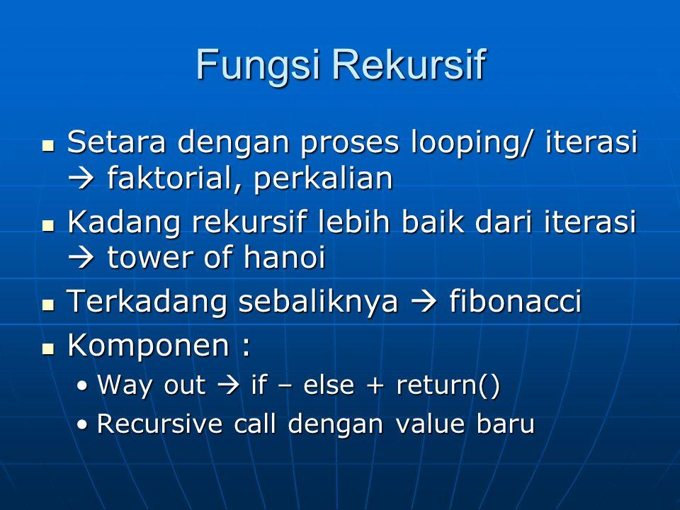 Fungsi Rekursif Setara dengan proses looping/ iterasi  faktorial, perkalian. Kadang rekursif lebih baik dari iterasi  tower of hanoi.
