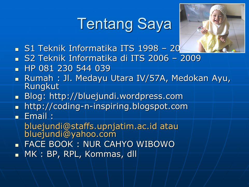 Tentang Saya S1 Teknik Informatika ITS 1998 – 2003