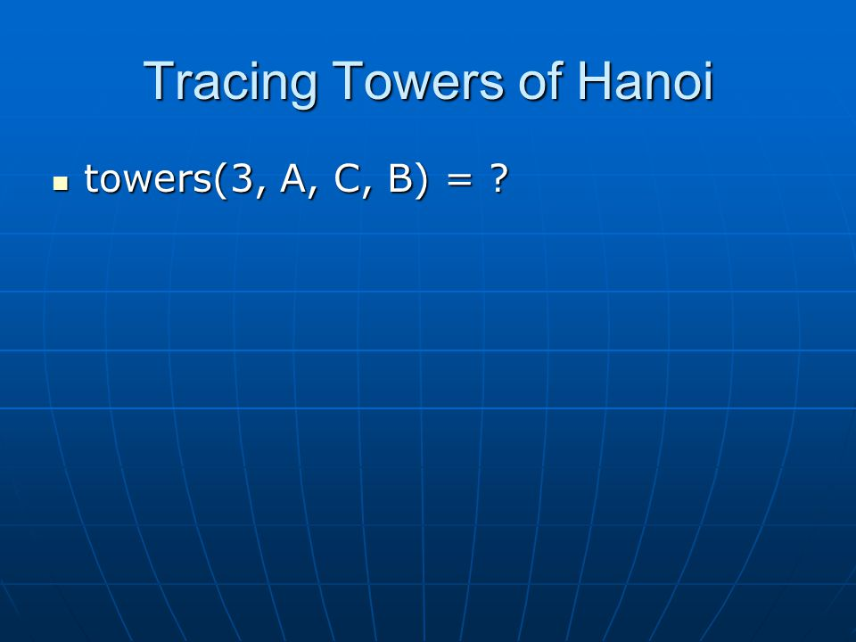 Tracing Towers of Hanoi