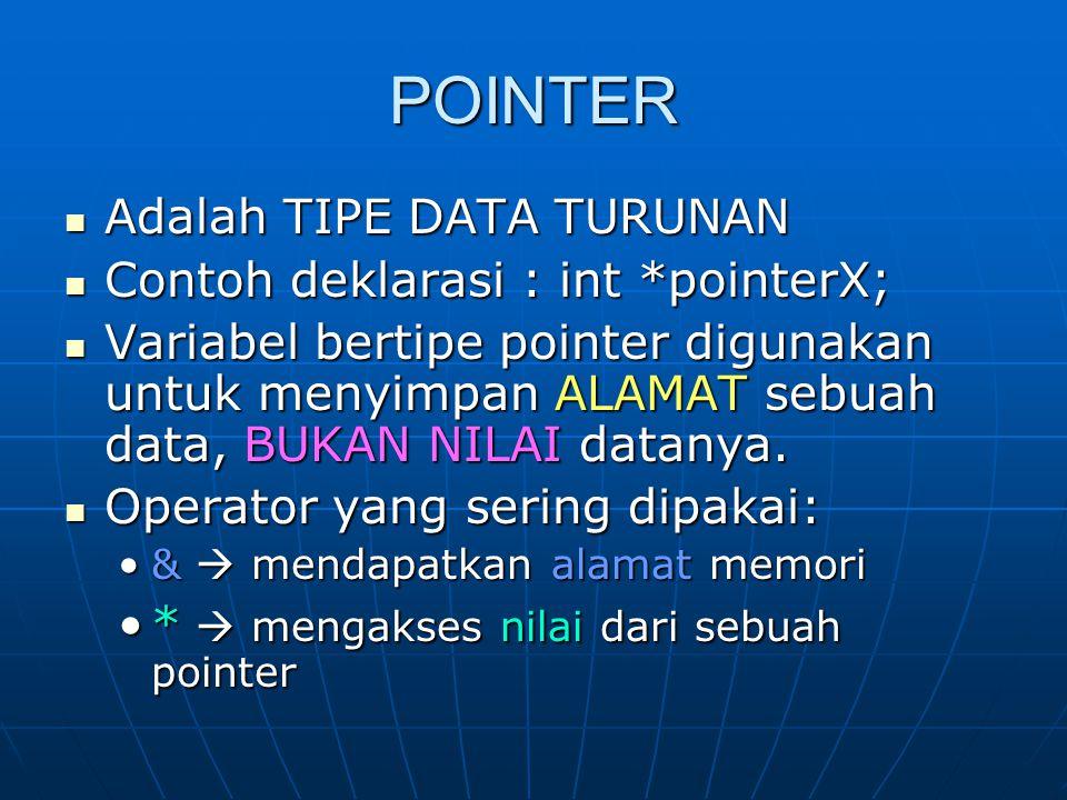 POINTER Adalah TIPE DATA TURUNAN Contoh deklarasi : int *pointerX;