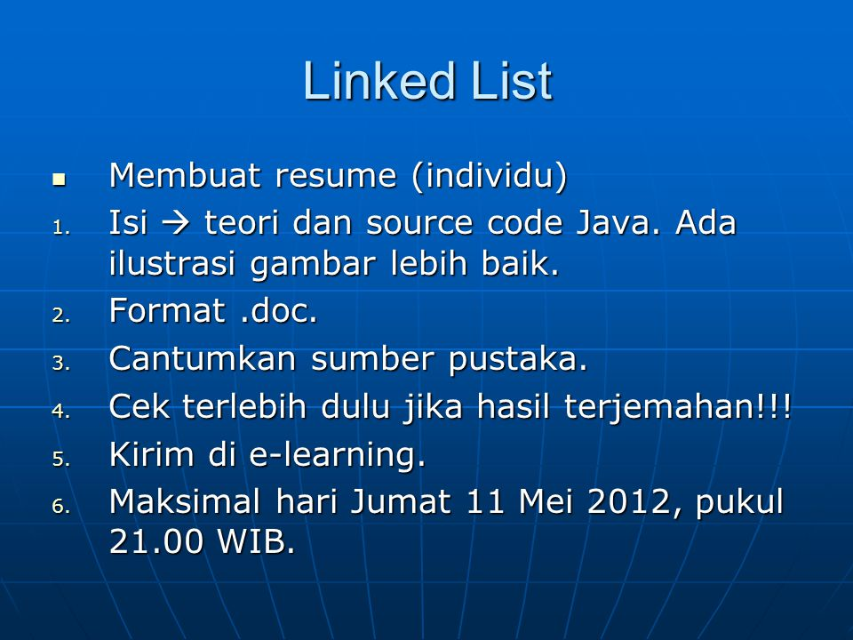 Linked List Membuat resume (individu)