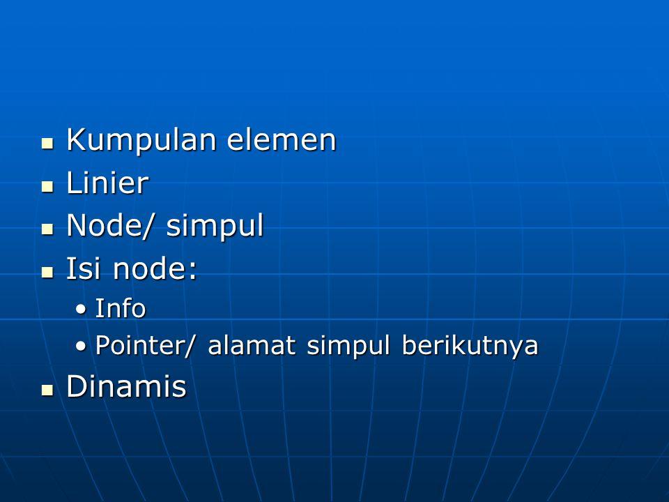 Kumpulan elemen Linier Node/ simpul Isi node: Dinamis Info