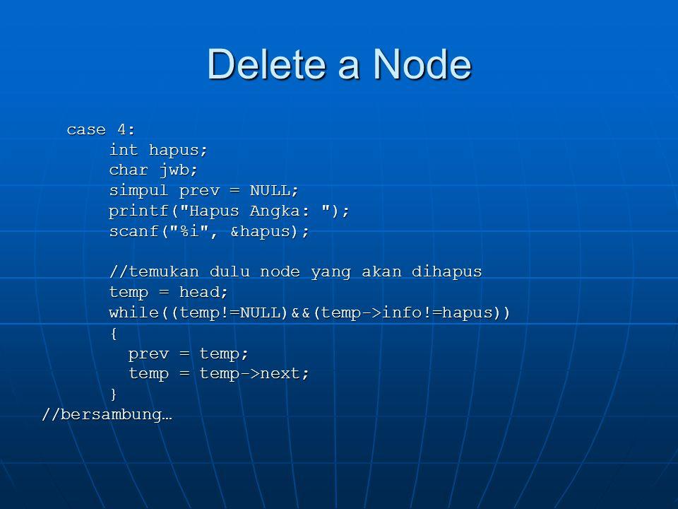 Delete a Node case 4: int hapus; char jwb; simpul prev = NULL;