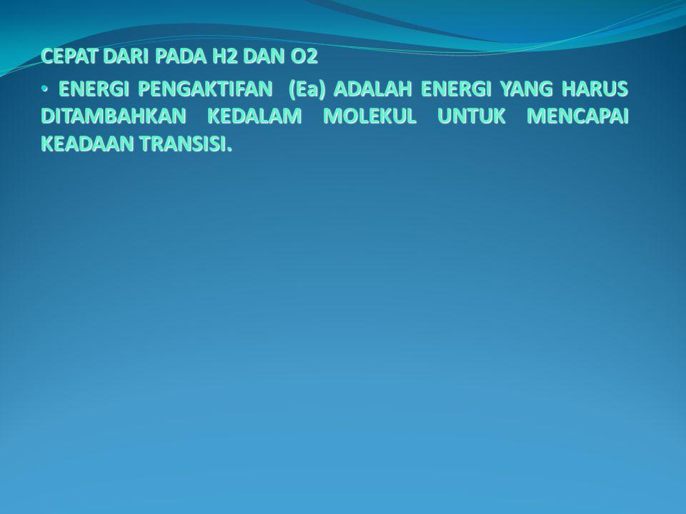 CEPAT DARI PADA H2 DAN O2 ENERGI PENGAKTIFAN (Ea) ADALAH ENERGI YANG HARUS DITAMBAHKAN KEDALAM MOLEKUL UNTUK MENCAPAI KEADAAN TRANSISI.