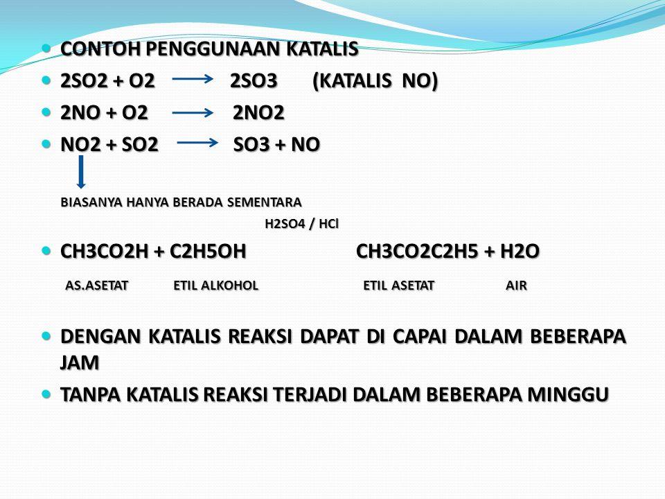 CONTOH PENGGUNAAN KATALIS 2SO2 + O2 2SO3 (KATALIS NO) 2NO + O2 2NO2
