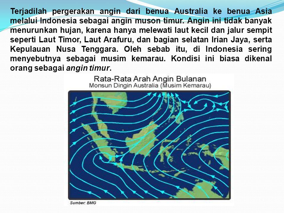 Terjadilah pergerakan angin dari benua Australia ke benua Asia melalui Indonesia sebagai angin muson timur.