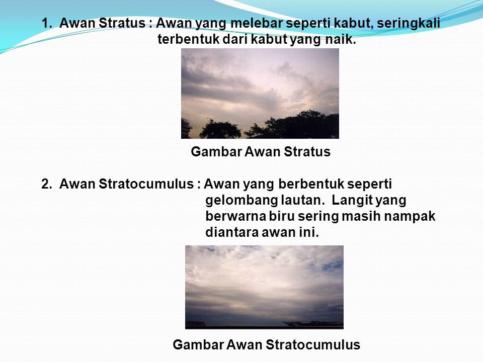 1. Awan Stratus : Awan yang melebar seperti kabut, seringkali