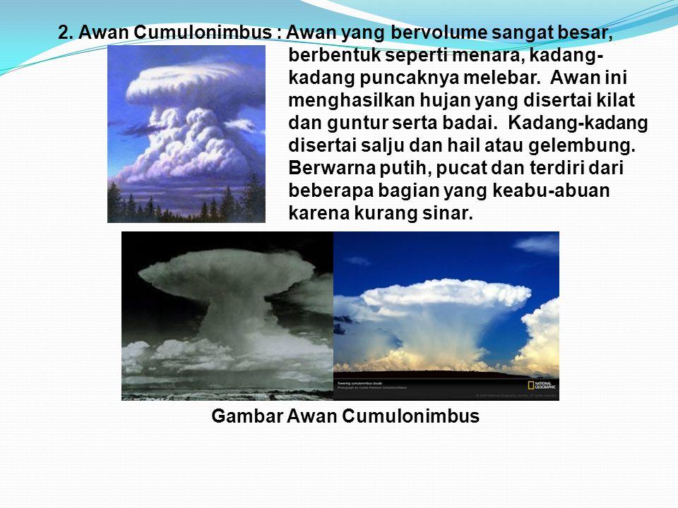 2. Awan Cumulonimbus : Awan yang bervolume sangat besar,