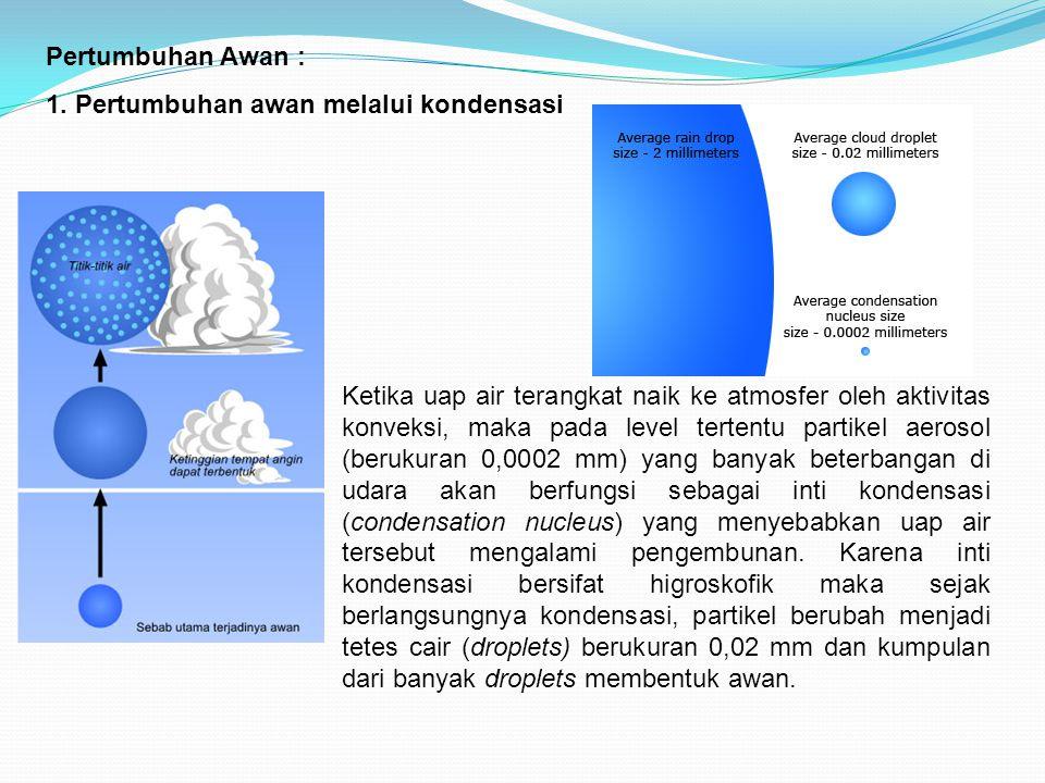 Pertumbuhan Awan : 1. Pertumbuhan awan melalui kondensasi.