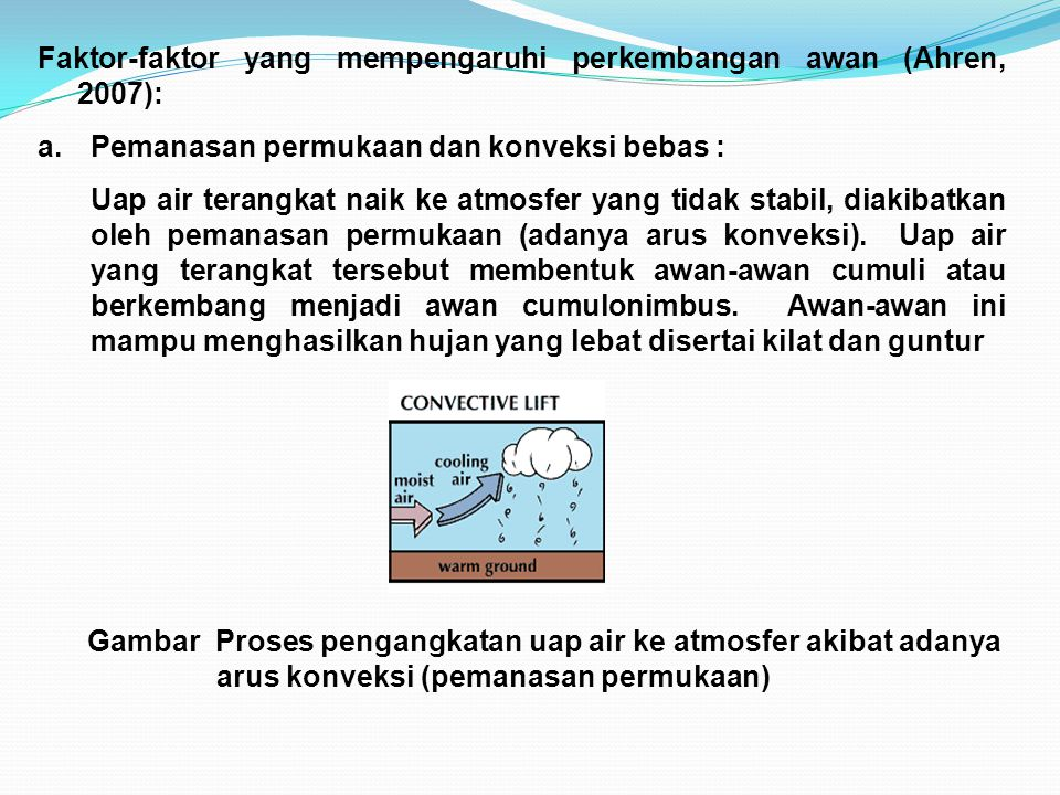 Faktor-faktor yang mempengaruhi perkembangan awan (Ahren, 2007):