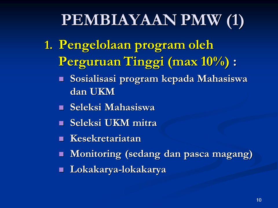 PEMBIAYAAN PMW (1) 1. Pengelolaan program oleh Perguruan Tinggi (max 10%) : Sosialisasi program kepada Mahasiswa dan UKM.