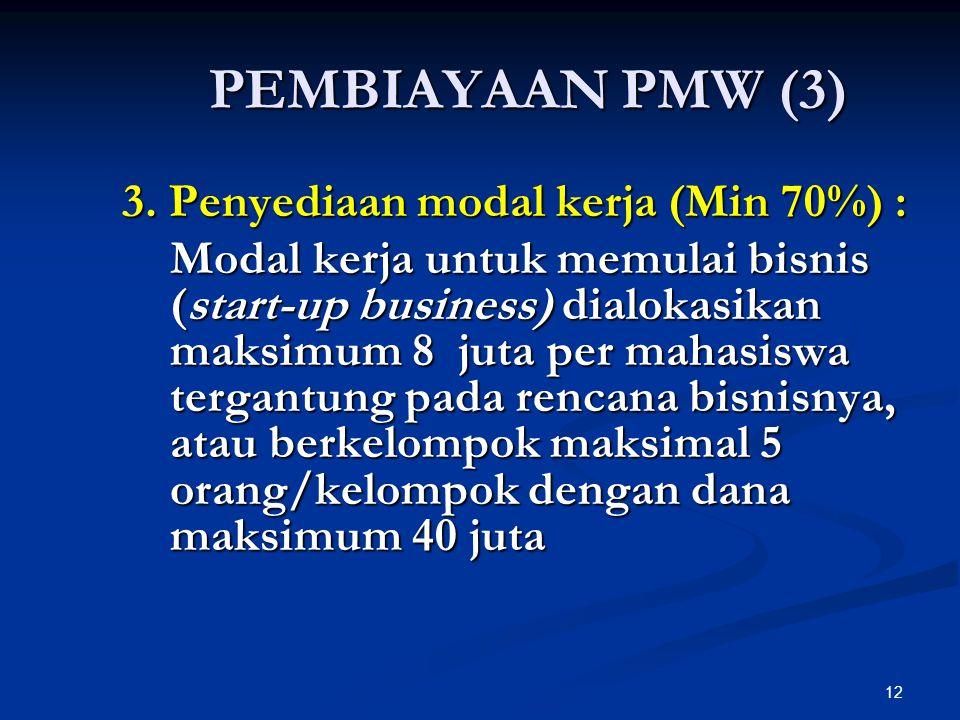 PEMBIAYAAN PMW (3) 3. Penyediaan modal kerja (Min 70%) :