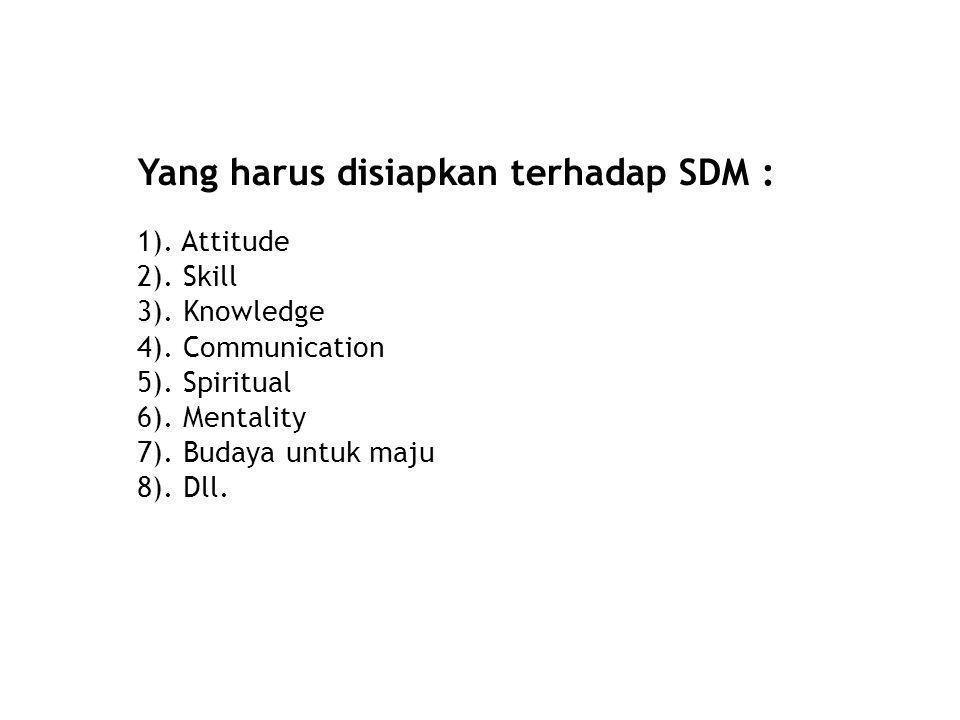 Yang harus disiapkan terhadap SDM :