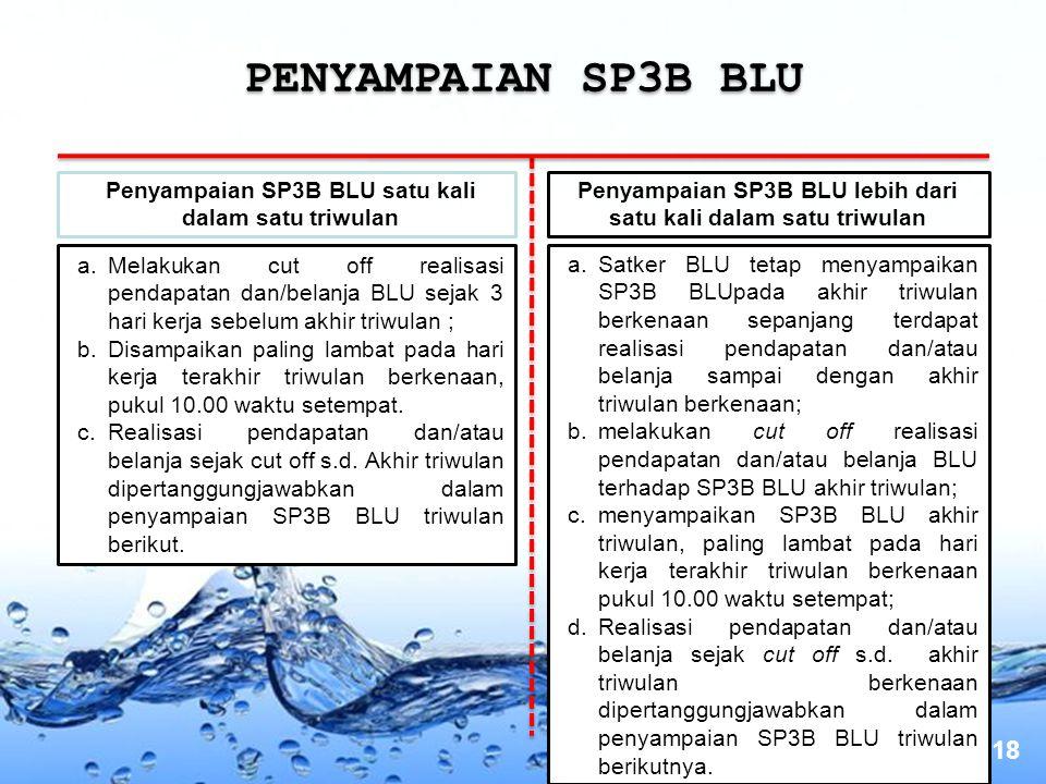 PENYAMPAIAN SP3B BLU Penyampaian SP3B BLU satu kali dalam satu triwulan. Penyampaian SP3B BLU lebih dari satu kali dalam satu triwulan.