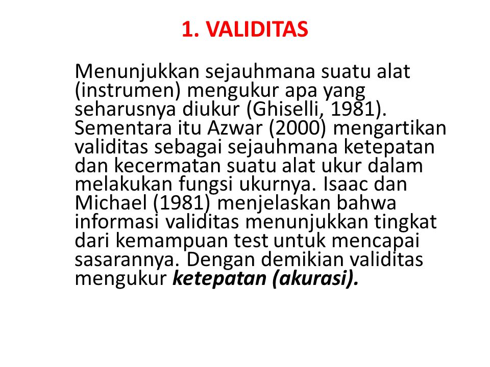 1. VALIDITAS