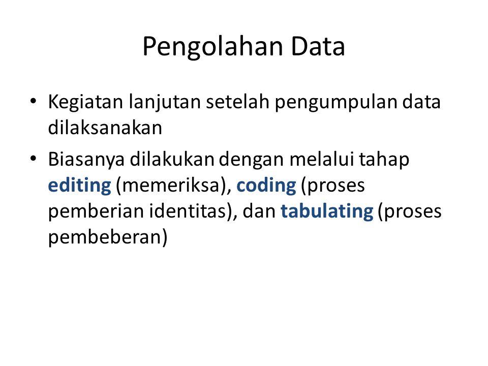 Pengolahan Data Kegiatan lanjutan setelah pengumpulan data dilaksanakan.