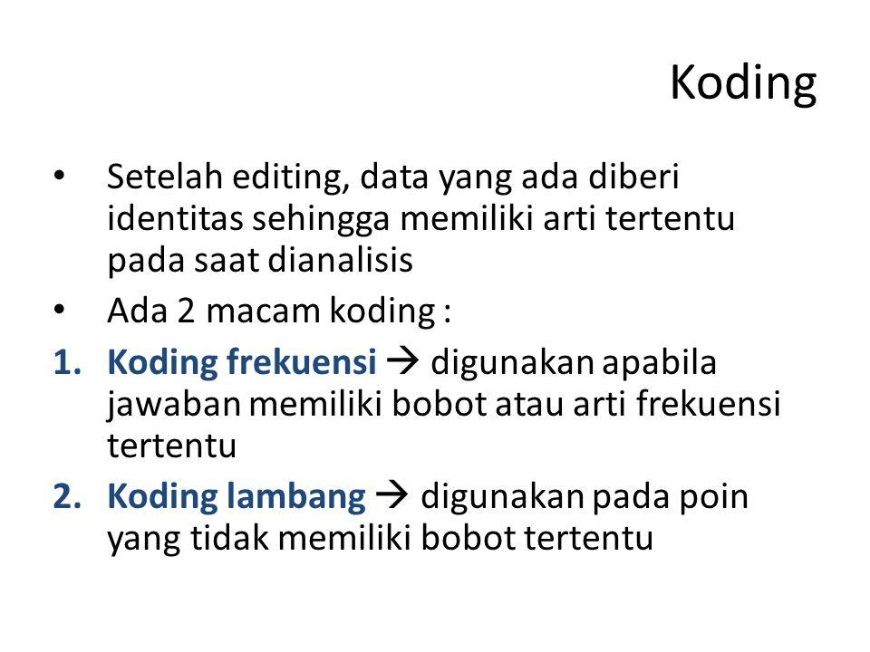 Koding Setelah editing, data yang ada diberi identitas sehingga memiliki arti tertentu pada saat dianalisis.