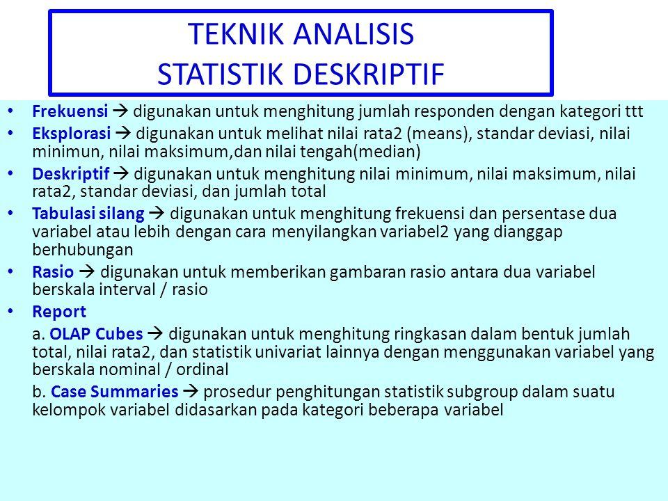 TEKNIK ANALISIS STATISTIK DESKRIPTIF