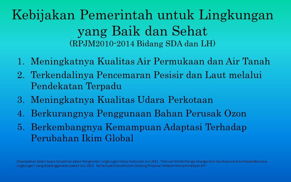 Kebijakan Pemerintah untuk Lingkungan yang Baik dan Sehat (RPJM2010-2014 Bidang SDA dan LH)
