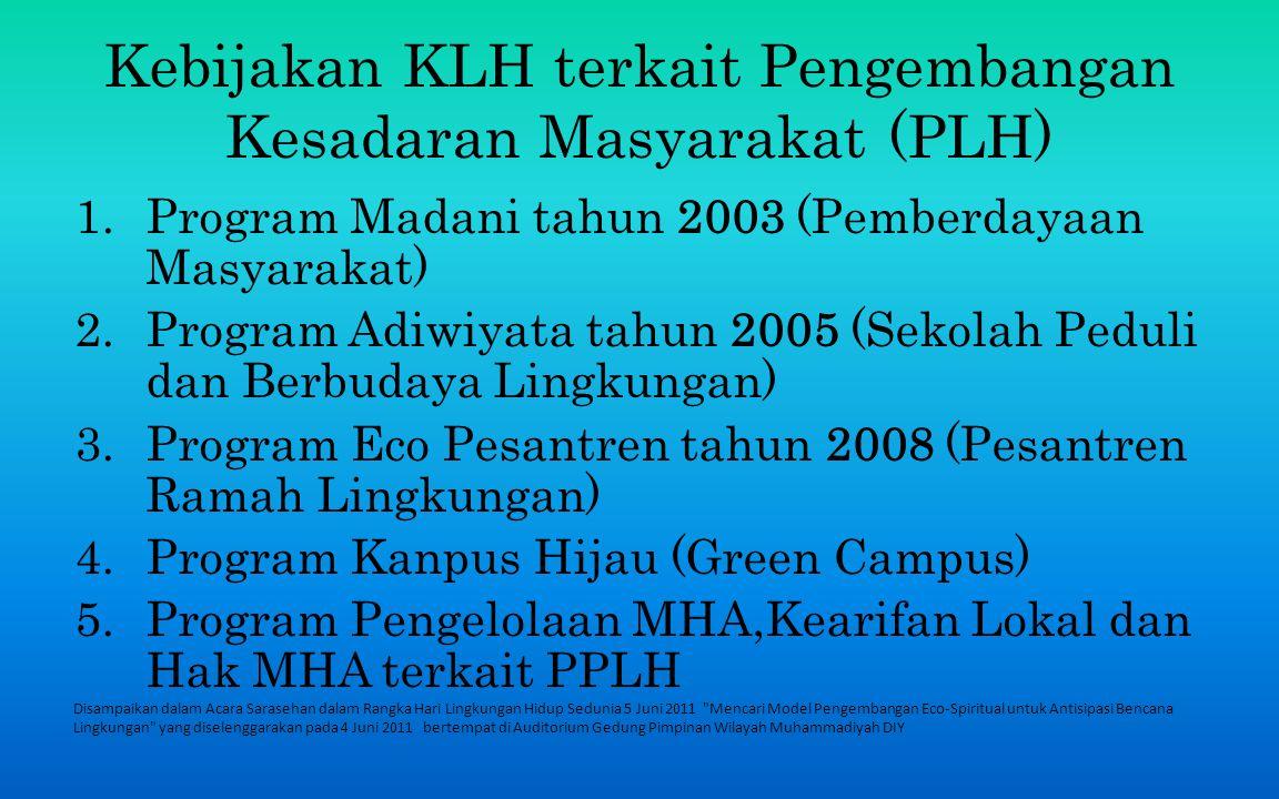 Kebijakan KLH terkait Pengembangan Kesadaran Masyarakat (PLH)