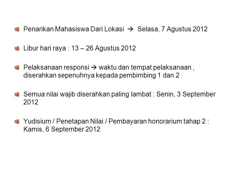 Penarikan Mahasiswa Dari Lokasi  Selasa, 7 Agustus 2012