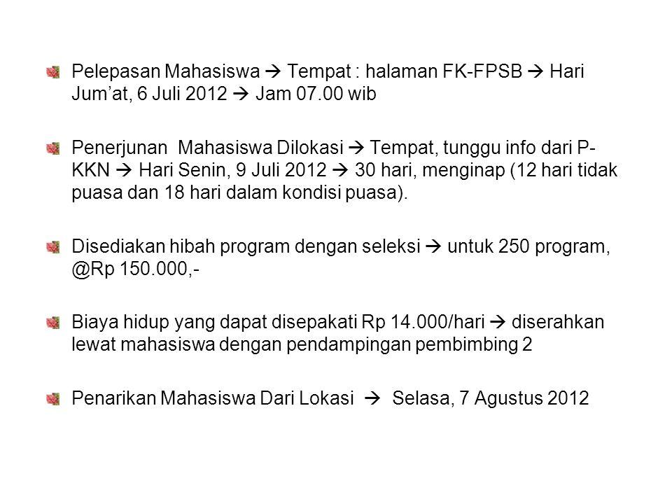 Pelepasan Mahasiswa  Tempat : halaman FK-FPSB  Hari Jum'at, 6 Juli 2012  Jam 07.00 wib