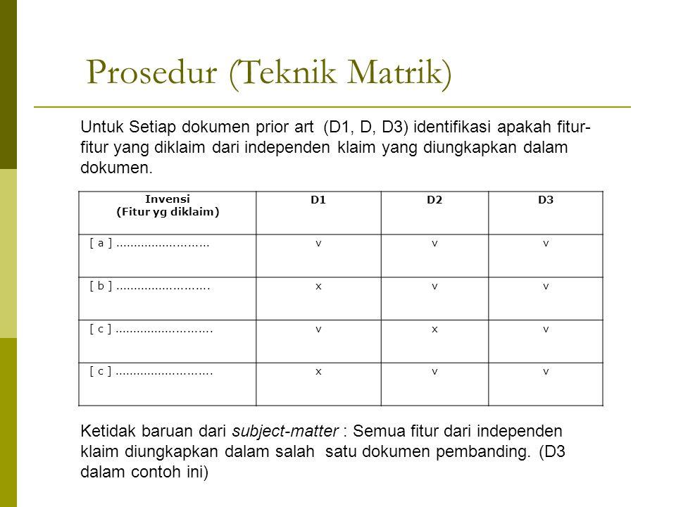 Prosedur (Teknik Matrik)