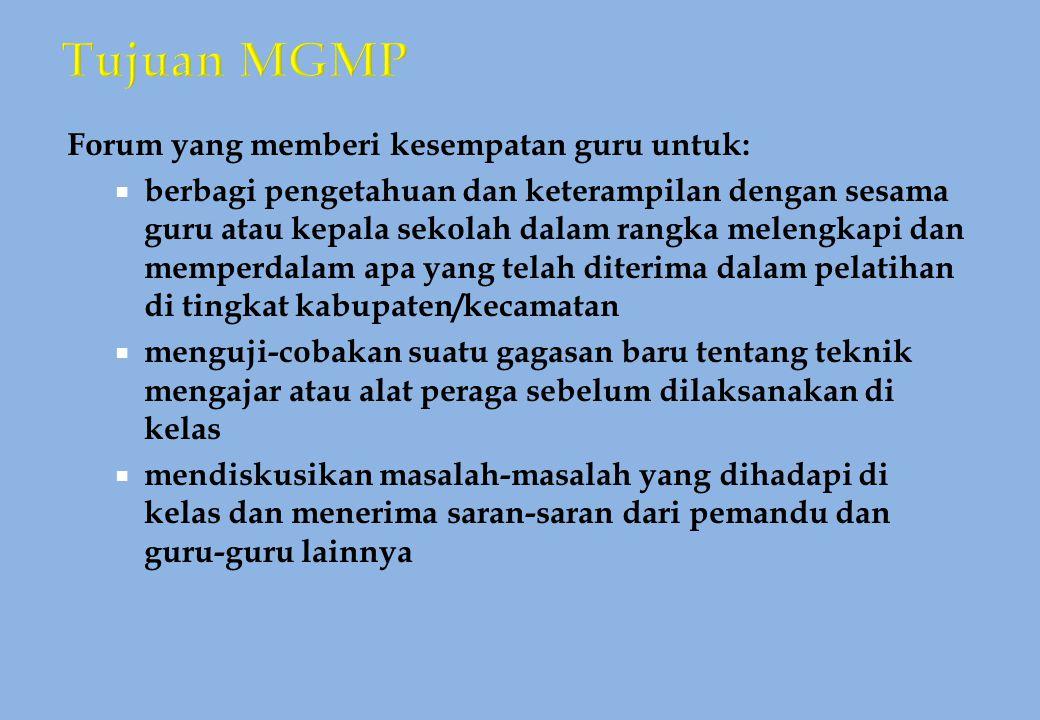 Tujuan MGMP Forum yang memberi kesempatan guru untuk: