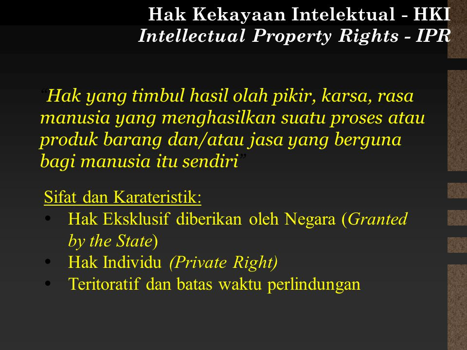 Hak Kekayaan Intelektual - HKI Intellectual Property Rights - IPR