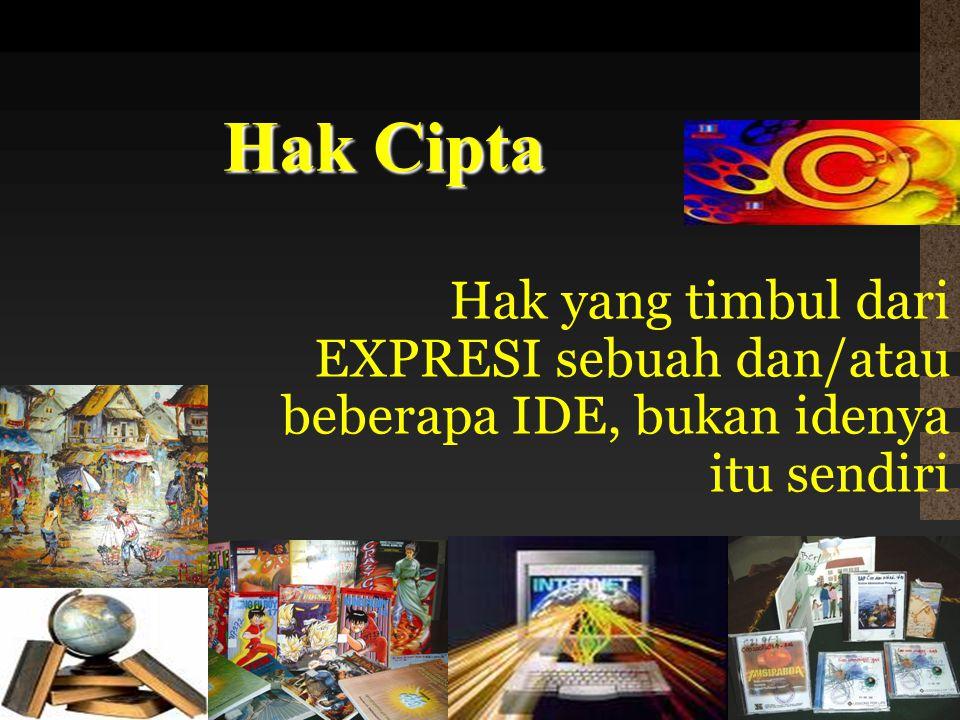 Hak Cipta Hak yang timbul dari EXPRESI sebuah dan/atau beberapa IDE, bukan idenya itu sendiri 11