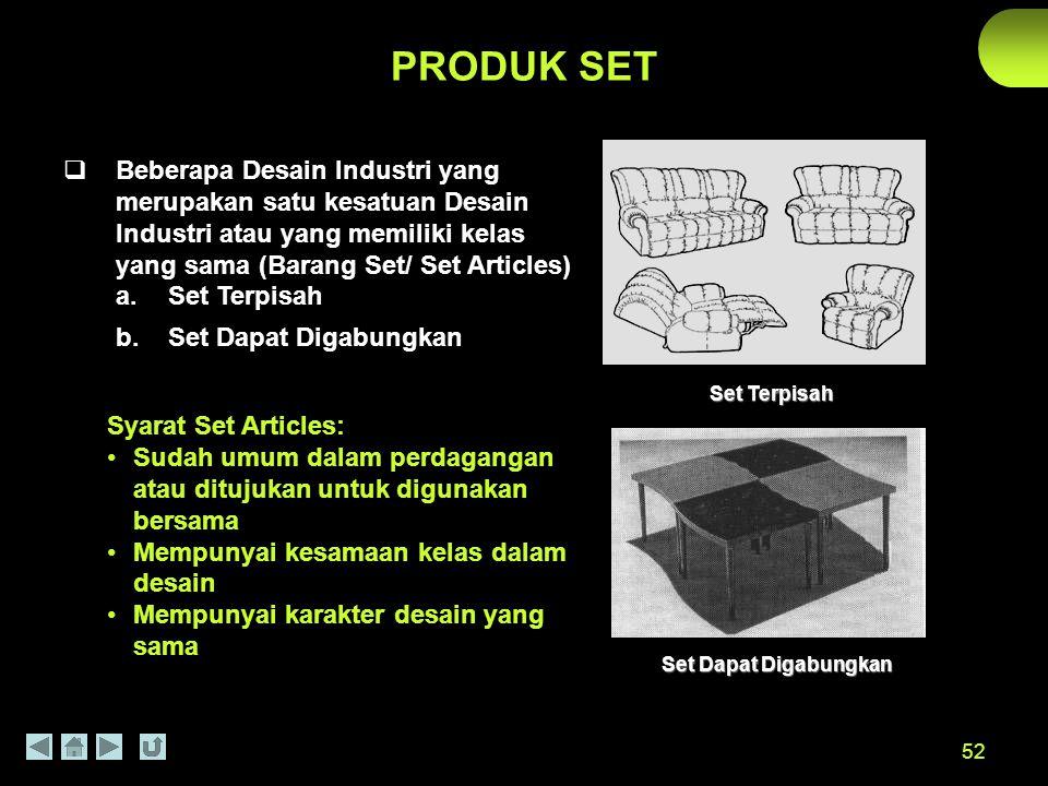 PRODUK SET Beberapa Desain Industri yang merupakan satu kesatuan Desain Industri atau yang memiliki kelas yang sama (Barang Set/ Set Articles)
