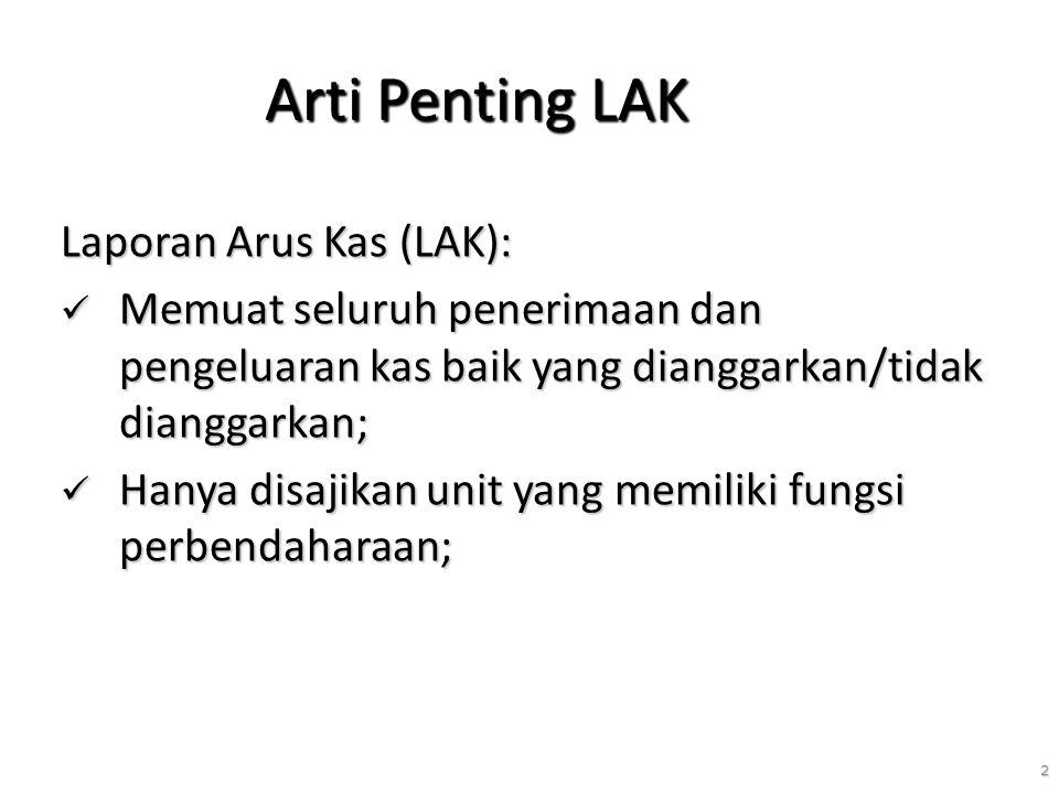 Arti Penting LAK Laporan Arus Kas (LAK):