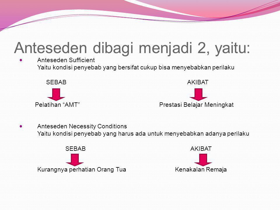Anteseden dibagi menjadi 2, yaitu: