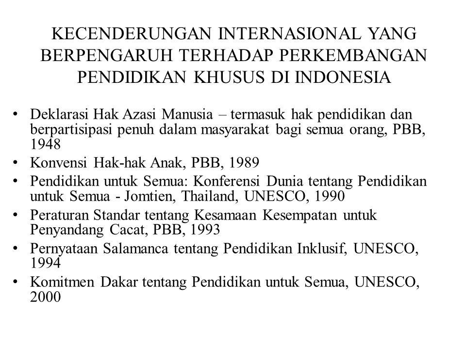 KECENDERUNGAN INTERNASIONAL YANG BERPENGARUH TERHADAP PERKEMBANGAN PENDIDIKAN KHUSUS DI INDONESIA