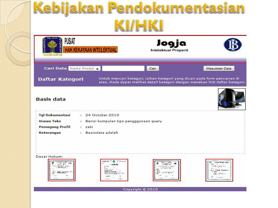 Kebijakan Pendokumentasian KI/HKI