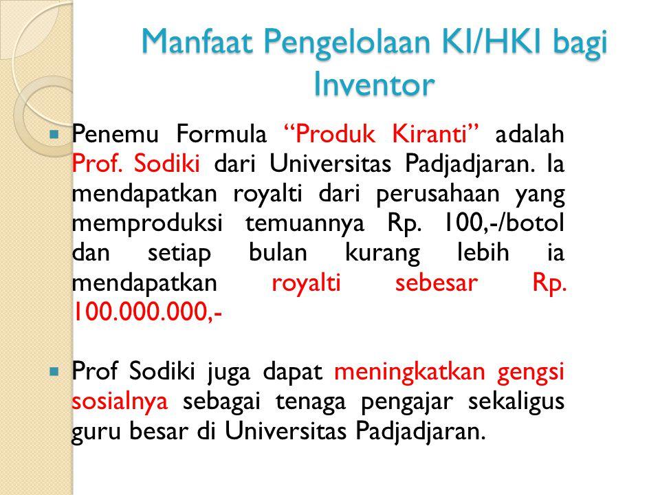 Manfaat Pengelolaan KI/HKI bagi Inventor