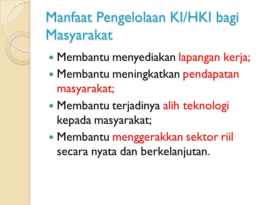Manfaat Pengelolaan KI/HKI bagi Masyarakat