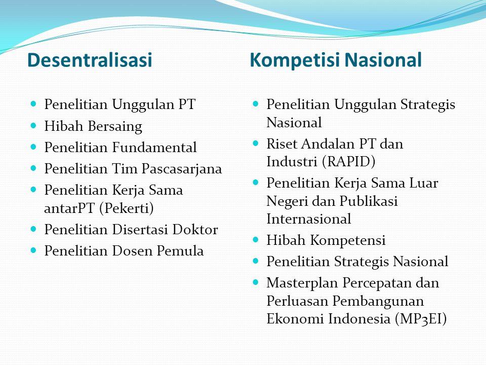Desentralisasi Kompetisi Nasional Penelitian Unggulan PT