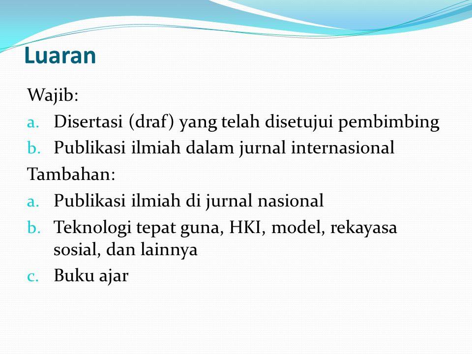 Luaran Wajib: Disertasi (draf) yang telah disetujui pembimbing
