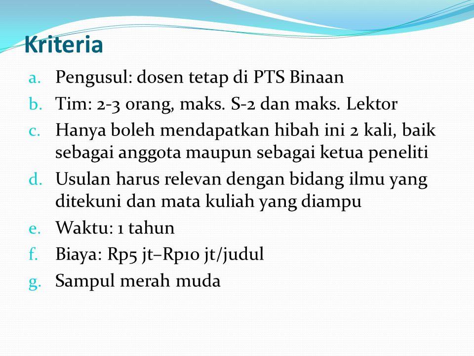 Kriteria Pengusul: dosen tetap di PTS Binaan